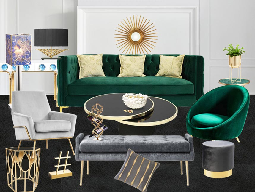 Black and green match perfectly in this living room.