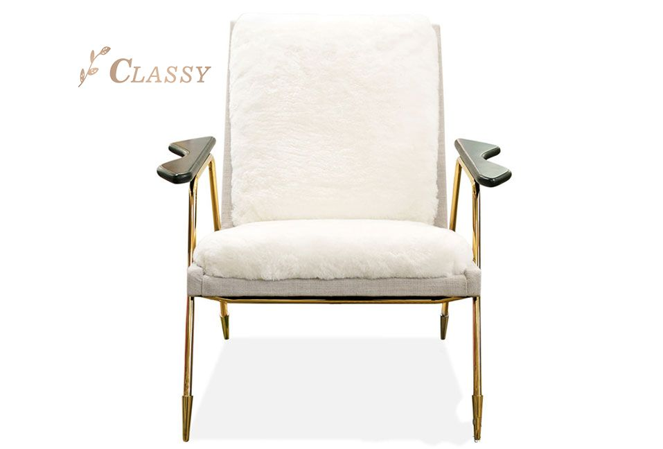 White Fabric Comfortable Armchair