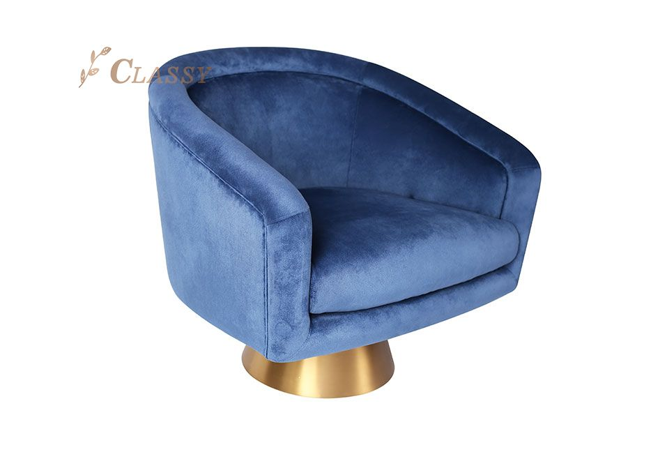 Blue Velvet Curved Shape Armchair