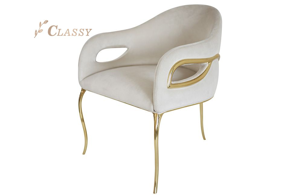White Velvet Armchair with Three  Golden Legs