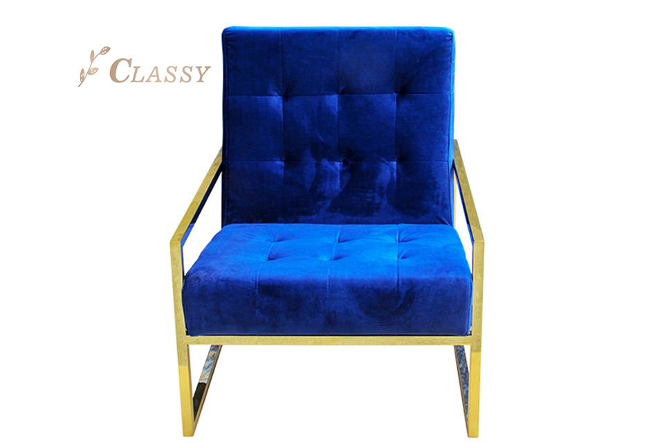 Golden Metal Frame Armchair