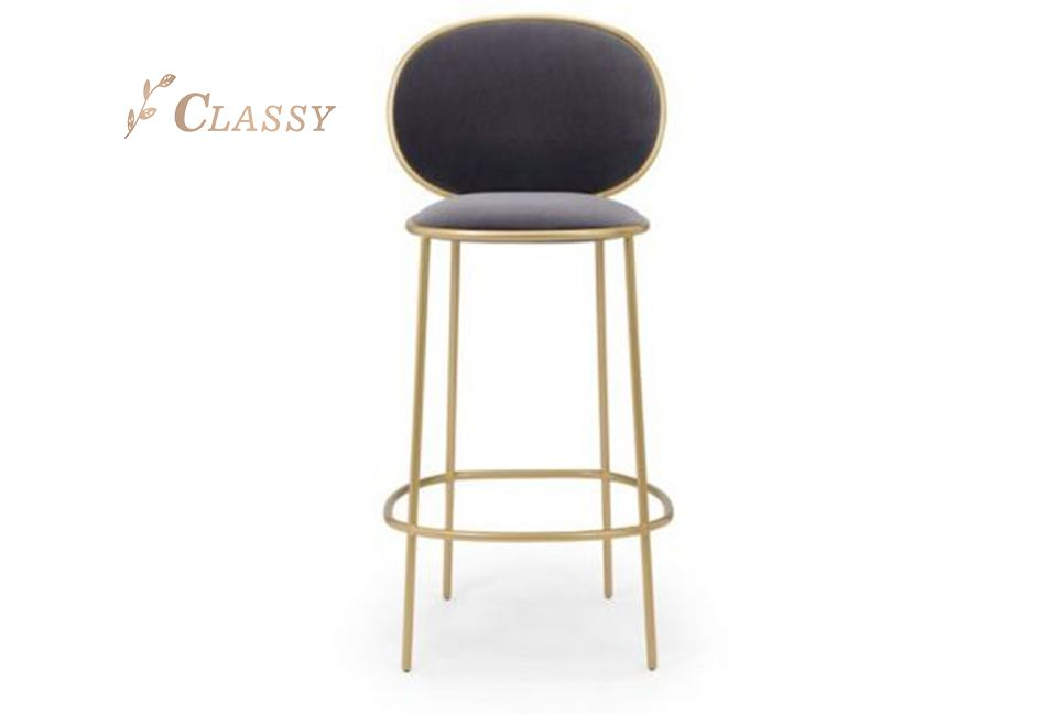 Black Fabric High Bar Chair