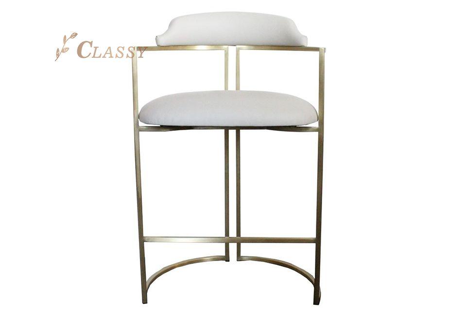 Large Metal Frame Bar Chair with Armrest