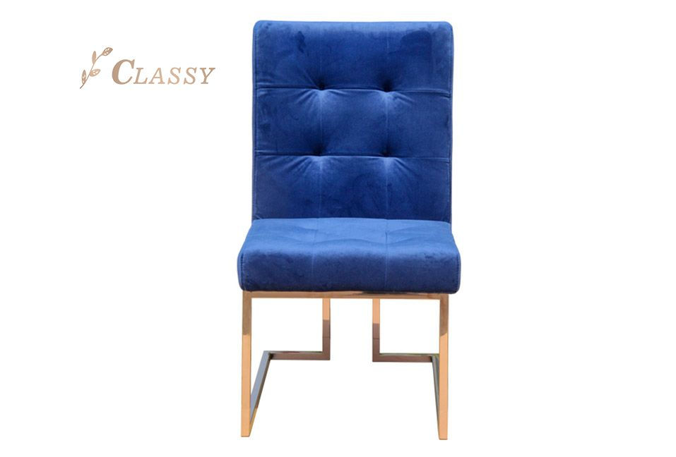 Blue Velvet Dining Chair with Stainless Steel Base