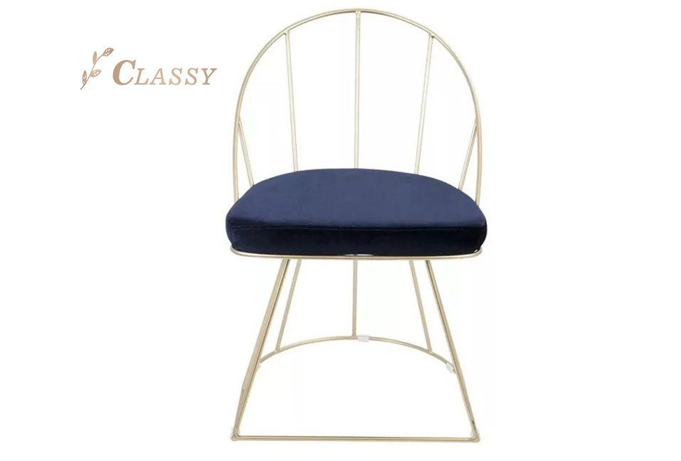 Golden Metal Dining Chair with Padded Seat