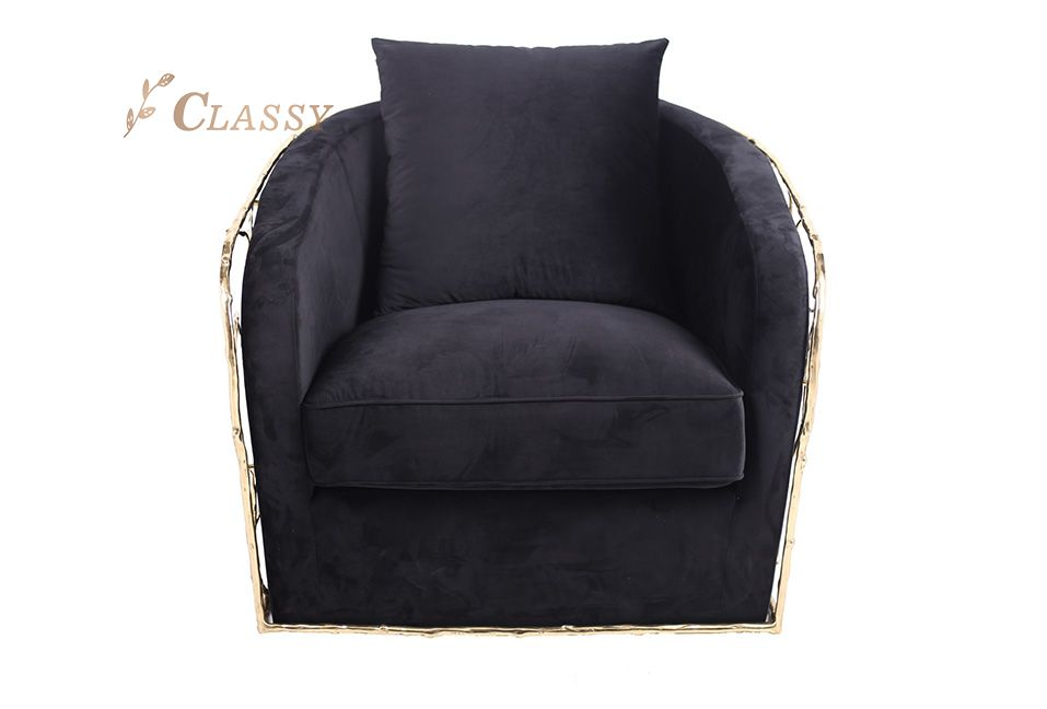 Comfortable Restaurant Chair with Golden Frame