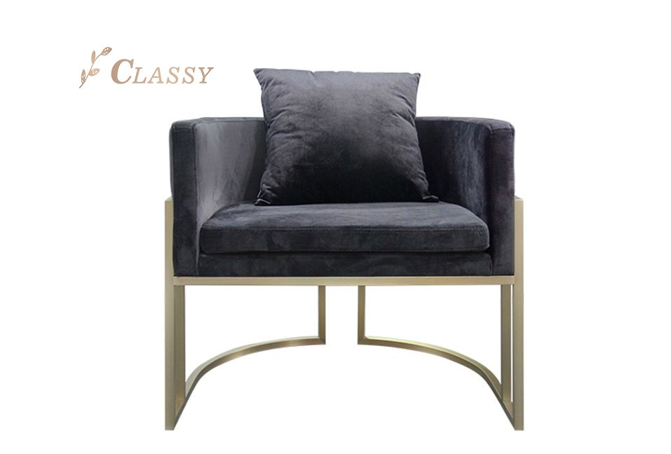 Black Flannel Armchair with Metal Base