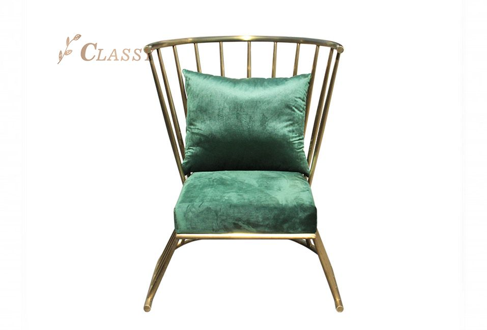 Green Fabric Leisure Chair with Metal base