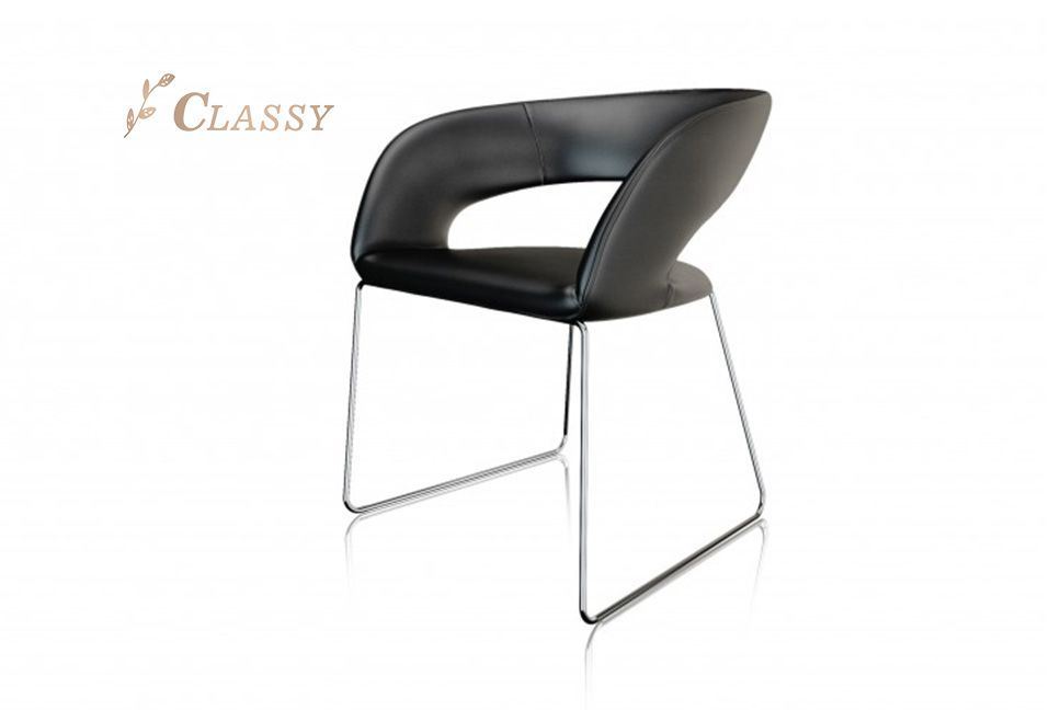 Curved Design Leather Leisure Chair