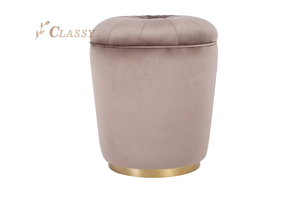 Classy Fabric Stool with Metal Base