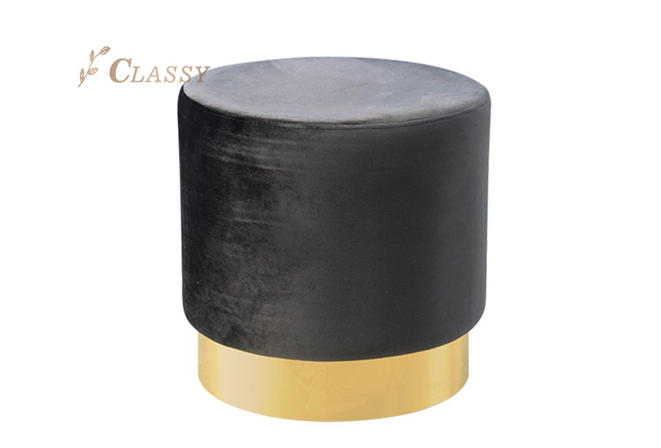 Black Fabric Stool