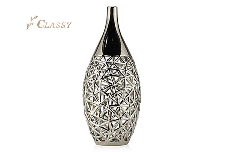 Modern Design Silver Metal Vase