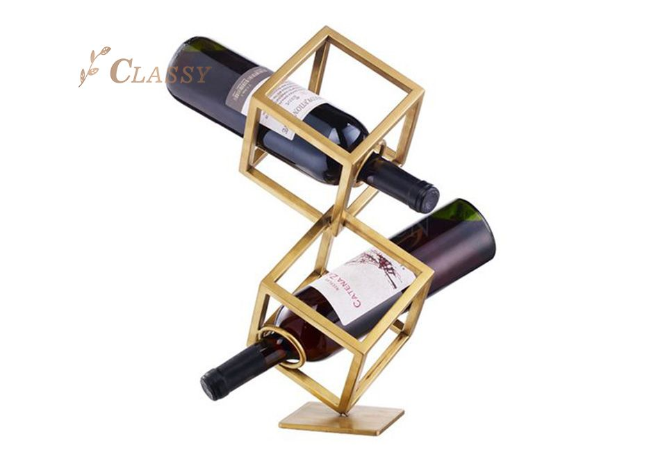 Golden Metal Wine Rack for Two Bottles