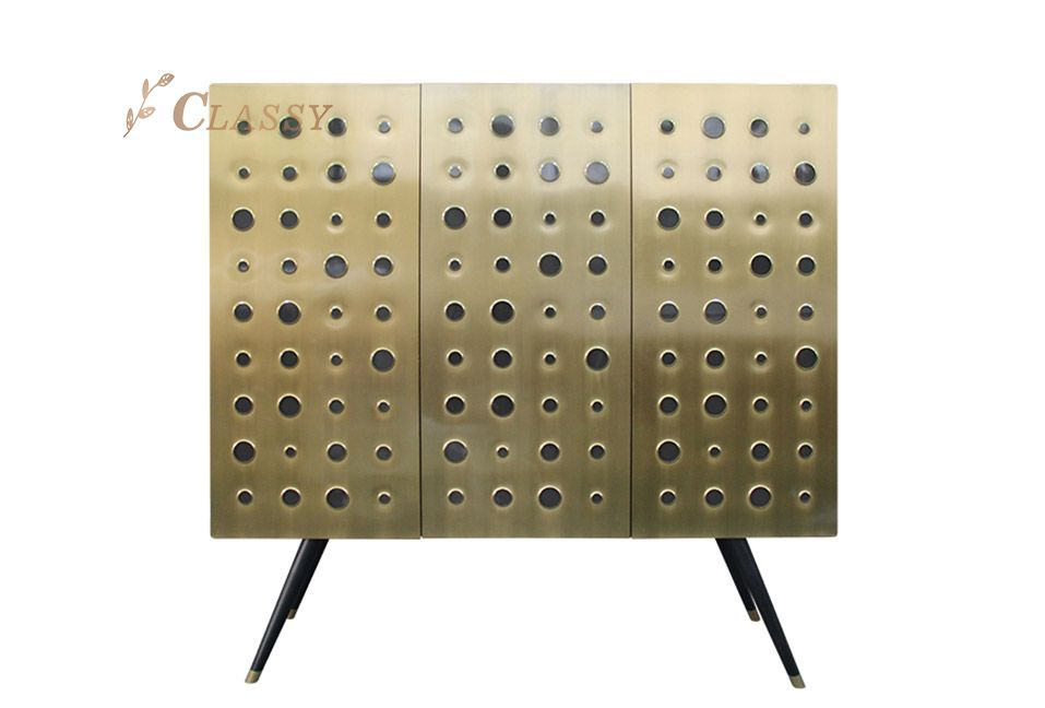 Golden Metal Cabinet with Slim Legs