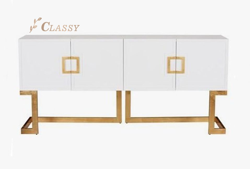 Contemporary Design Cabinet with Metal Base
