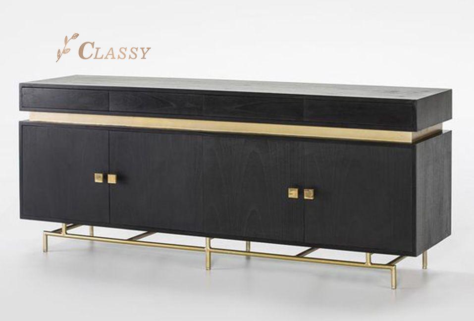 Black Cabinet with Golden Base