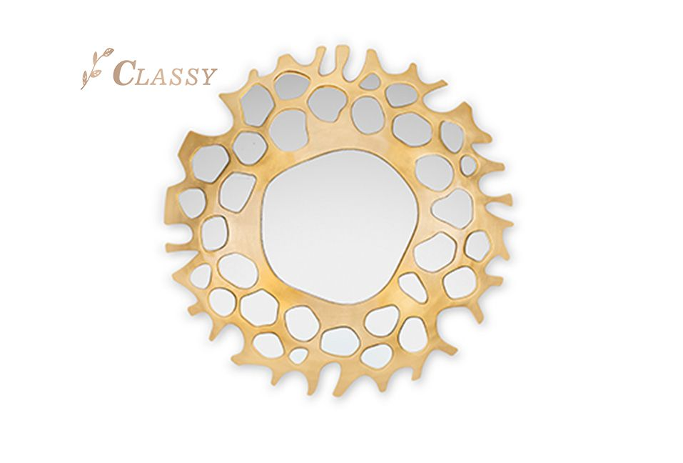 Golden Stainless Steel Wall Mirror