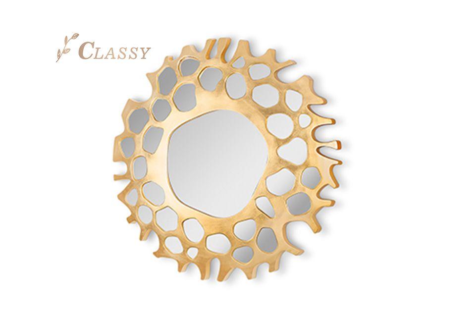 Golden Stainless Steel Wall Mirror