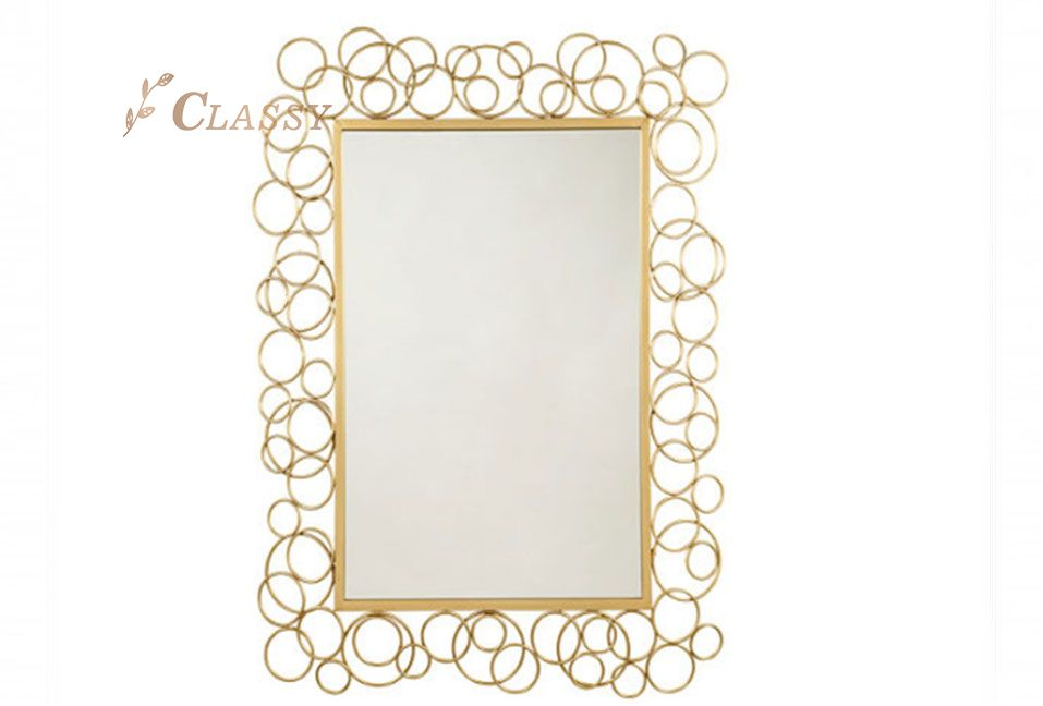 Rectangular Wall Mirror with Metal Frame
