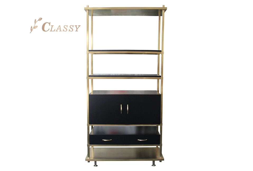 Metal Frame Side Shelf with Drawers
