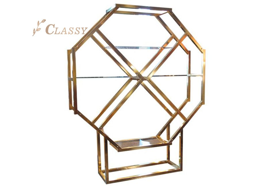 Glass Shelving Golden Metal Side Shelf