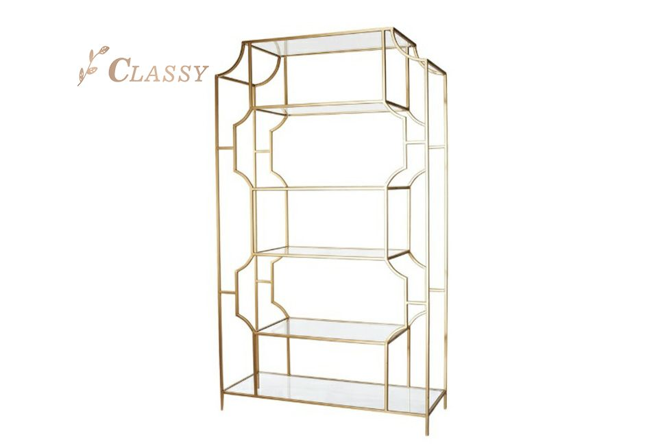 Modern Gold-Metal Finish Side Shelf
