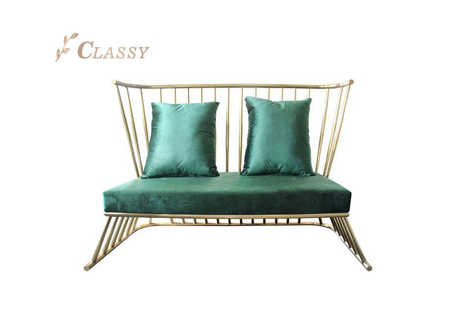 Green Fabric Golden Stainless Steel Frame Sofa