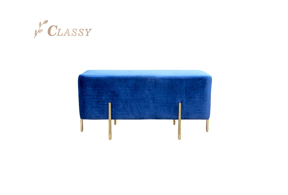 Blue Rectangle Upholstered Bench