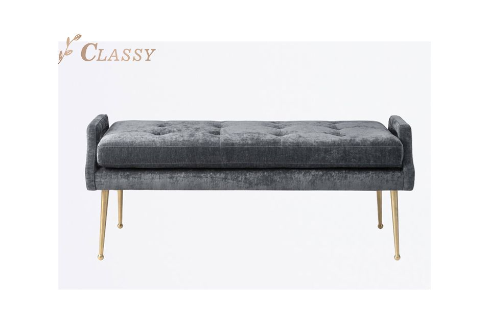 Modern Velvet Bench with Four Golden Legs