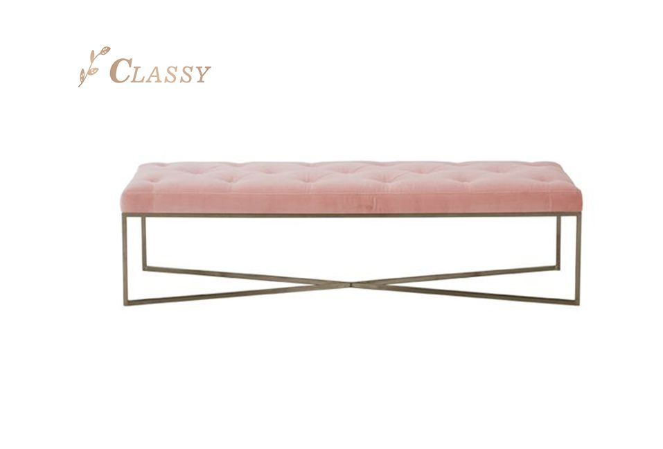 Modern Design Pink Fabric Bench