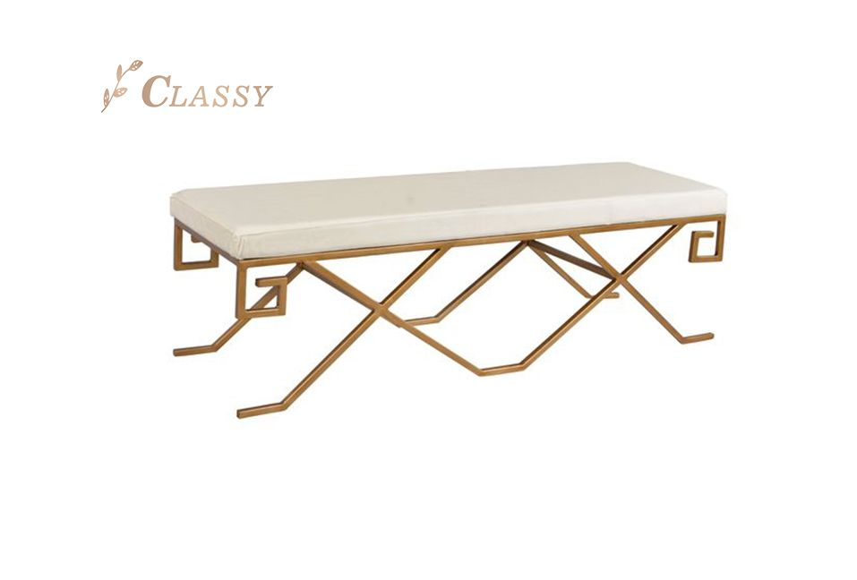 Leather Seating Bench with Metal Base
