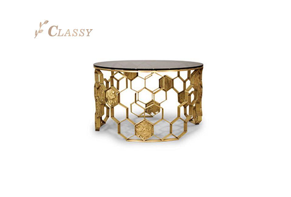 Luxurious Custom Golden Coffee Table