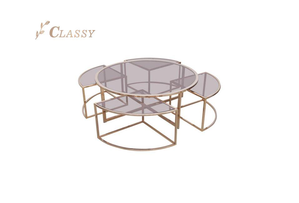 Smoke Glass Top Design Living Room Table