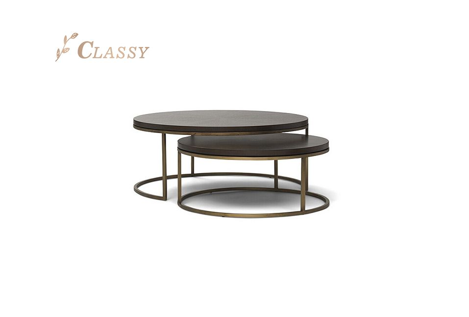 Round Shape Wood Top Coffee Table