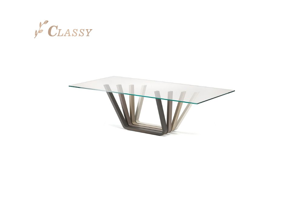 Modern Home Furniture Glass Top Dining Table