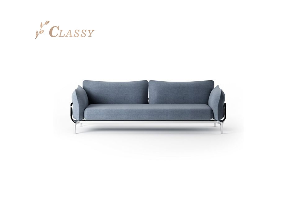 Contemporary Design Fabric Sofa with Steel Base