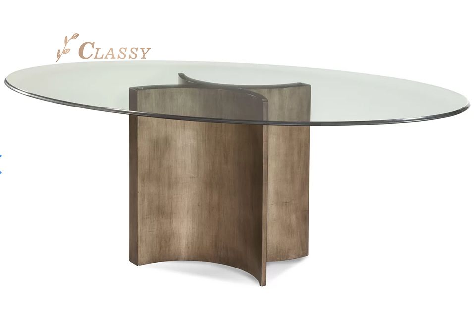 Glass and Metal Dining Table For Hotel