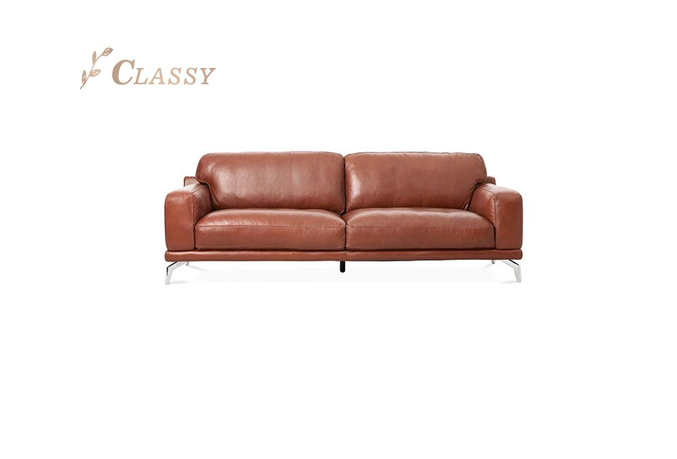Brown Metal Leather Sofa for Living Room