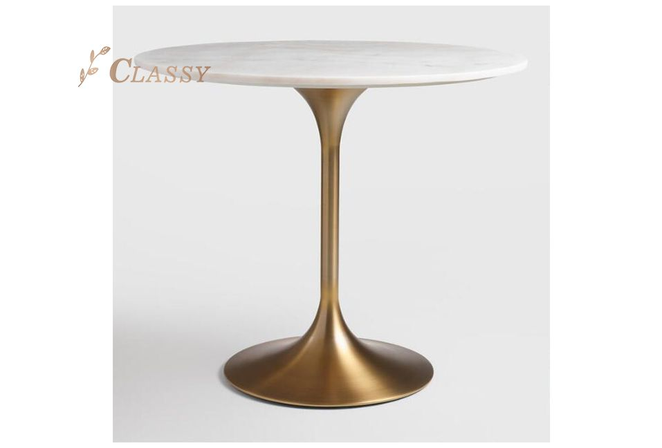 Golden Marble Dining Table for Bar