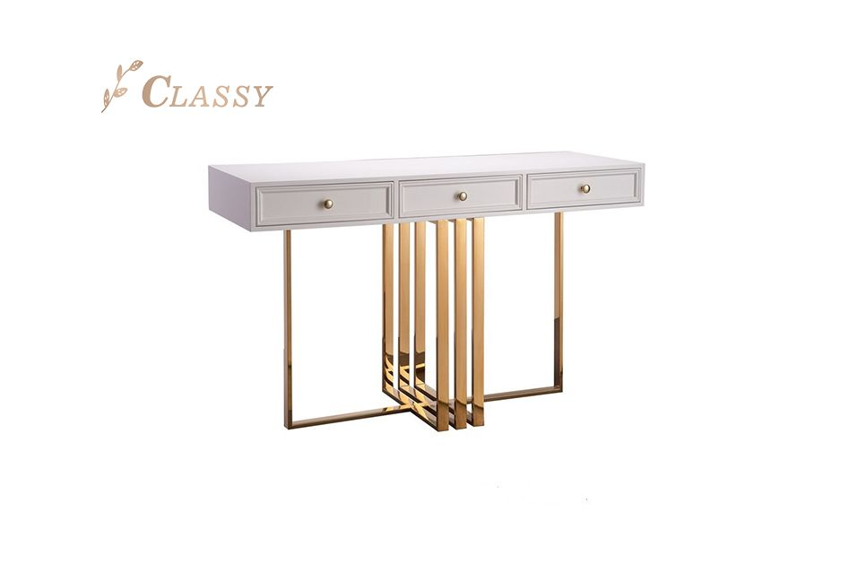 Golden Metal Base Console Table