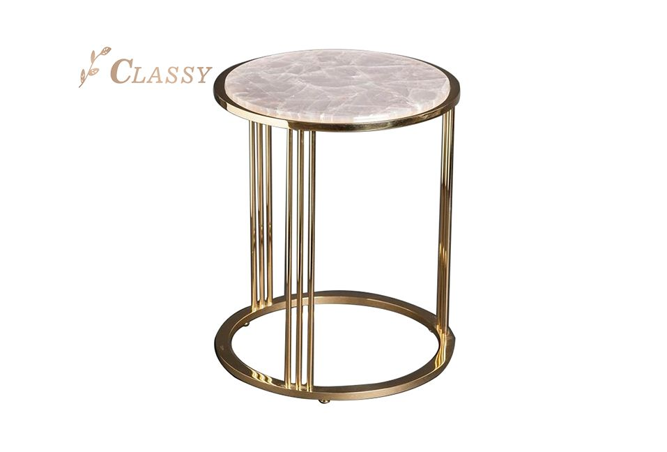 Round Marble Side Table with Golden Base