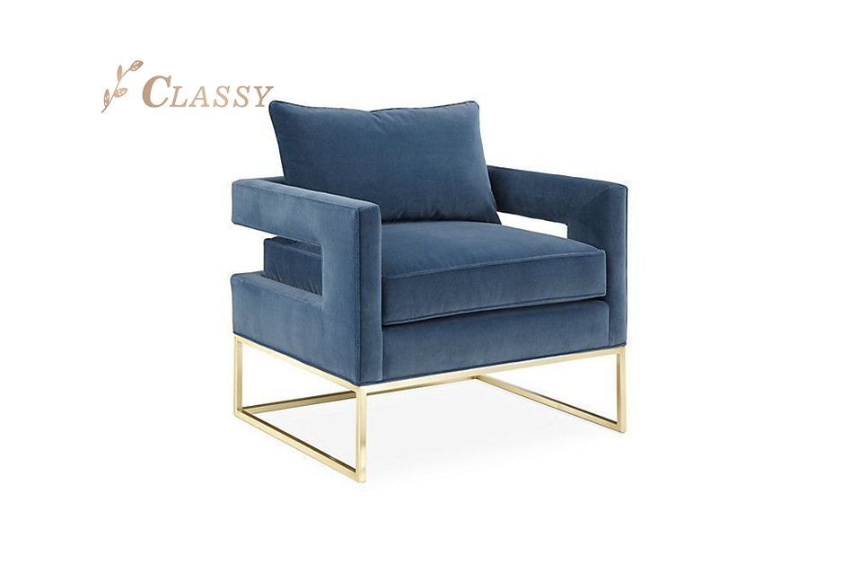 Modern Home Furniture Blue Velvet Accent Chair with Armrest