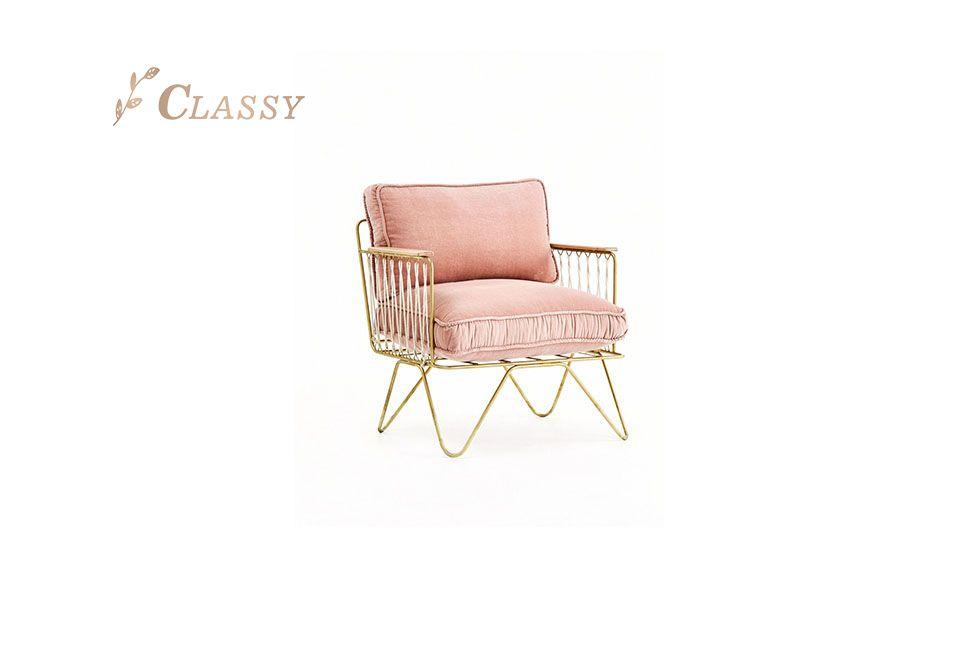 Removable Velvet Cushion Stainless Steel Frame Armchair