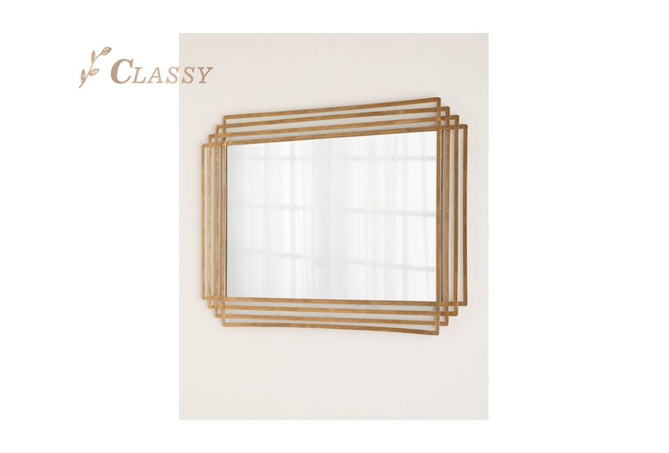 Customized Shape Mirror with Gold Metal Frame