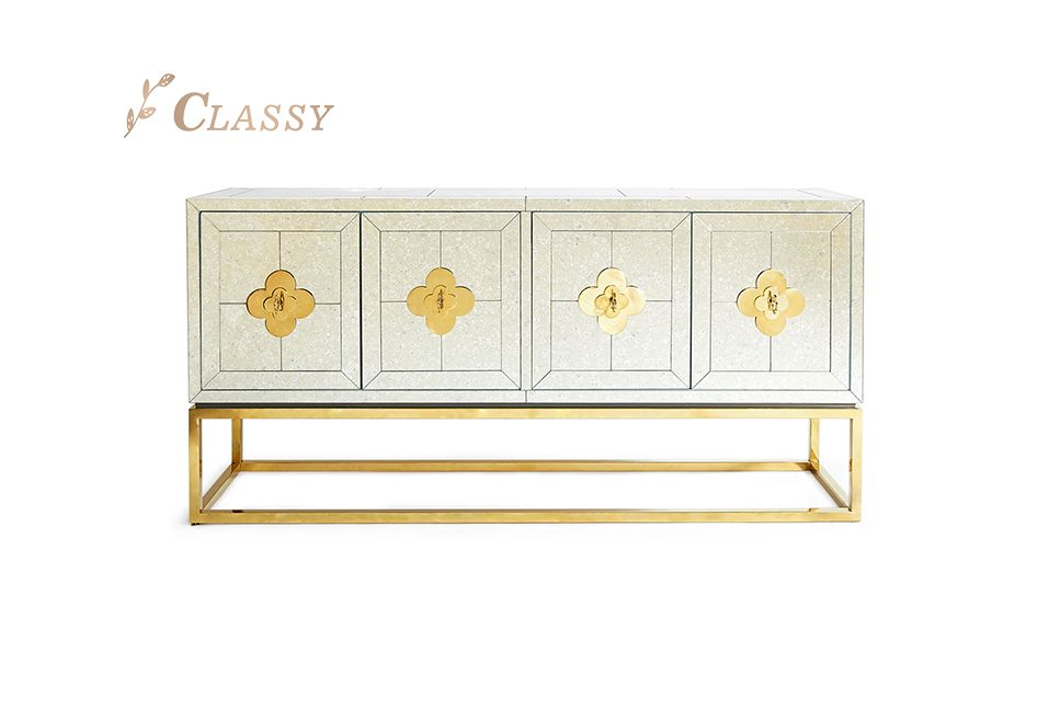 MDF Golden Stainless Steel Base 4 Doors Cabinet