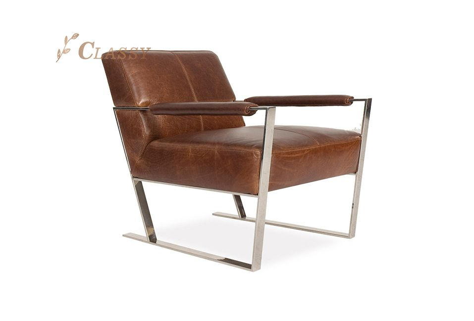 Classic Design Brown Leather Occasional Armchair