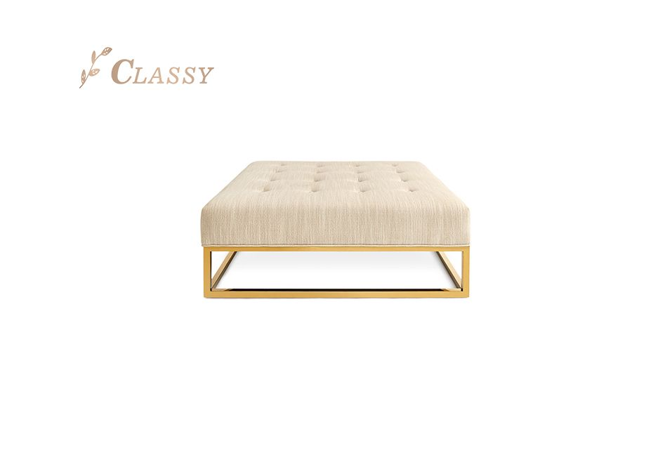 Square Oversize Fabric Bench for Living Room