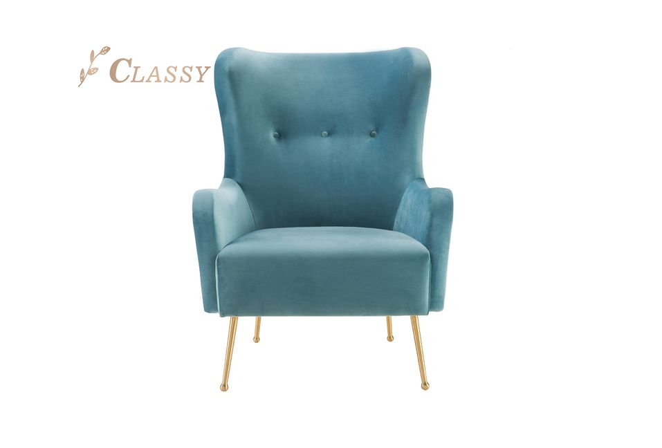 Velvet Club Armchair with Wing Backrest