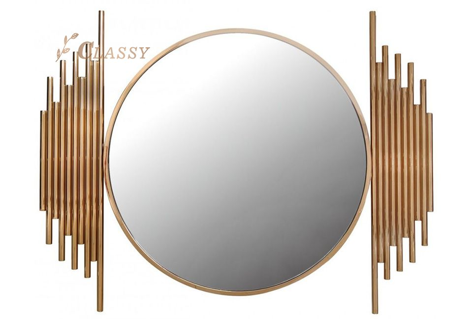 Round Shape Gold Metal Frame Mirror for Hotel