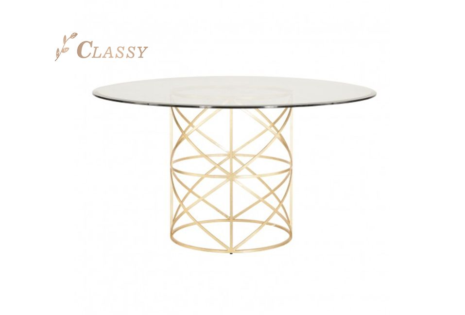 Golden Metal Base Dining Room Table